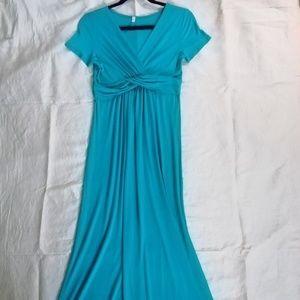 """Pink Blush"" turquoise maxi dress size M"